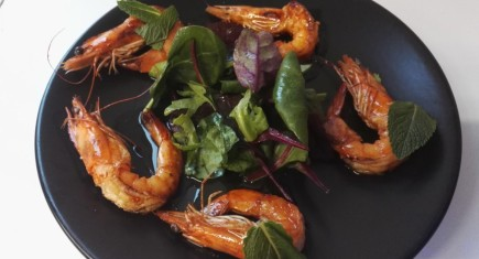 Campari marinated Prawns Orange Glaze & leaves